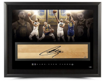 Stephen Curry Signed LE Warriors 24x36 Custom Framed Game-Used Floor Piece Display (UDA COA) at PristineAuction.com