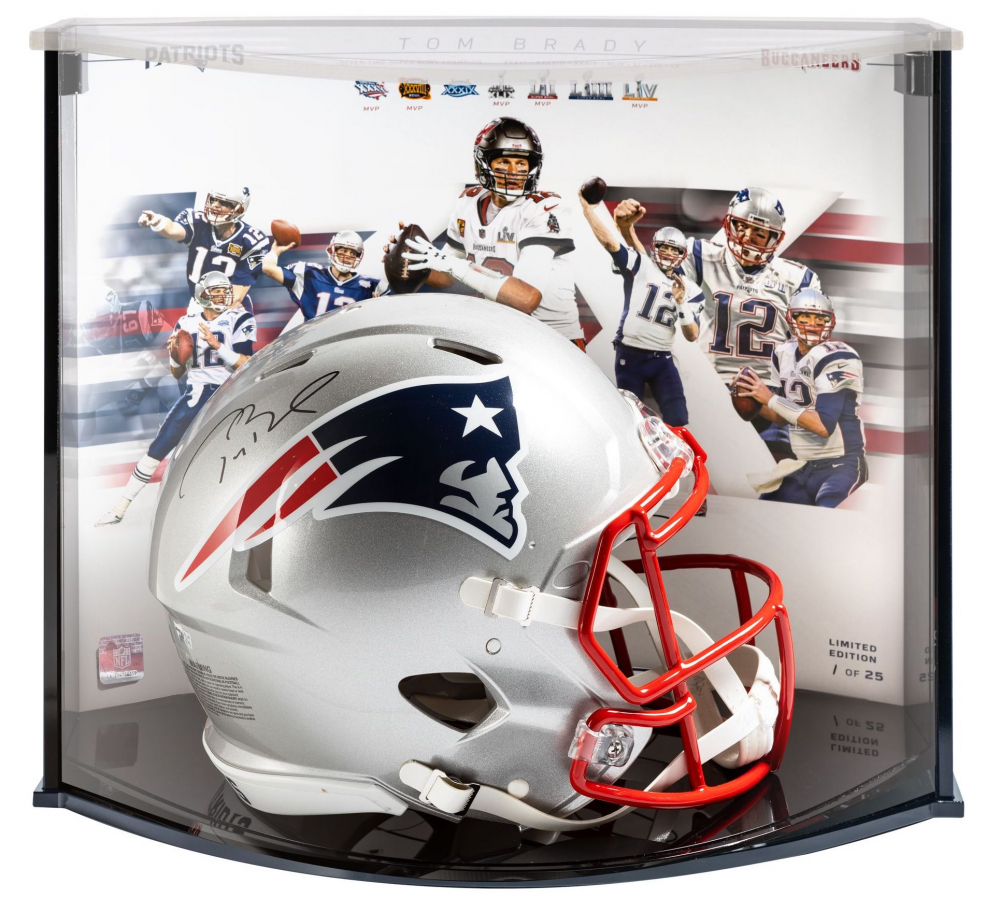 Tom Brady Signed LE Patriots Full-Size Authentic On-Field Speed Helmet with Display Case (Fanatics Hologram) at PristineAuction.com
