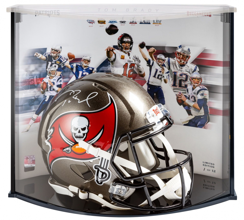 Tom Brady Signed Buccaneers Full-Size Authentic On-Field Speed Helmet with LE Display Case (Fanatics Hologram) at PristineAuction.com