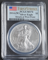 2014-(W) American Silver Eagle $1 One Dollar Coin - First Strike, Struck at West Point (PCGS MS70) at PristineAuction.com