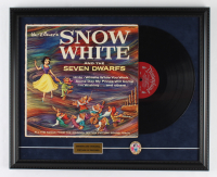 """Walt Disney's """"Snow White And The Seven Dwarfs"""" 18x24 Custom Framed Vinyl Record Display With Metal Lapel Pin (See Description) at PristineAuction.com"""