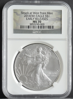 2014-(W) American Silver Eagle $1 One Dollar Coin - Early Releases, Struck at West Point, Camo Label (NGC MS70) at PristineAuction.com