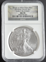 2014-W American Silver Eagle $1 One Dollar Coin - Early Releases, Struck at West Point, Camo Label (NGC MS70) at PristineAuction.com