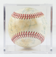 1979 Red Sox OAL Baseball Team-Signed by (26) with Carlton Fisk, Jim Rice, Carl Yastrzemski, Dennis Eckersley with Display Case (Beckett LOA & Marshall LOA) at PristineAuction.com
