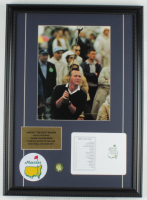 Arnold Palmer 16x22 Custom Framed Photo Display with Original Augusta National Golf Scorecard, Masters Pin & Patch at PristineAuction.com