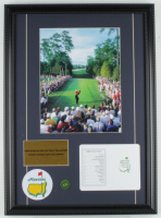 Tiger Woods 16x22 Custom Framed Photo Display with Official Augusta National Golf Scorecard, Masters Pin & Patch at PristineAuction.com