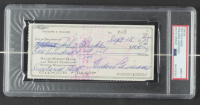 Ted Williams Signed Red Sox 16x24 Custom Framed 1975 Original Personal Bank Check Display with Textured Art Print of Ted Williams (PSA Encapsulated) at PristineAuction.com