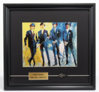 """LeRoy Neiman """"The Beatles"""" 13x14 Custom Framed Print Display with Vintage 1965 Beatles Guitar Pin at PristineAuction.com"""