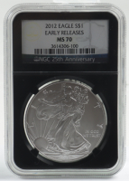 2012 American Silver Eagle $1 One Dollar Coin - Early Releases, Black Core Holder (NGC MS70) at PristineAuction.com