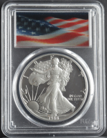 1988-S American Silver Eagle $1 One Dollar Coin - Lenticular Waving Flag Label (PCGS PR69 Deep Cameo) at PristineAuction.com