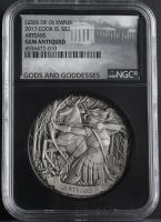 2017 Cook Islands $2 Gods of Olympus, Artemis 2 oz Silver Coin - Black Core Holder (NGC Gem Antiqued) at PristineAuction.com