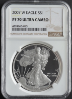 2007-W American Silver Eagle $1 One Dollar Coin (NGC PF70 Ultra Cameo) at PristineAuction.com