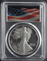 1986-S American Silver Eagle $1 One Dollar Coin - Lenticular Waving Flag Label (PCGS PR69 Deep Cameo) at PristineAuction.com
