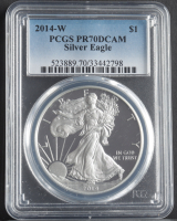 2014-W American Silver Eagle $1 One Dollar Coin (PCGS PR70 Deep Cameo) at PristineAuction.com