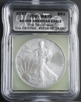 2007 American Silver Eagle $1 One Dollar Coin - First Day of Issue, Black Eagle Label (ICG MS70) at PristineAuction.com