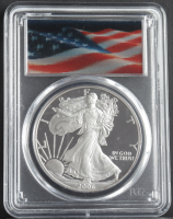 2006-W American Silver Eagle $1 One Dollar Coin - Lenticular Waving Flag Label (PCGS PR70 Deep Cameo) at PristineAuction.com