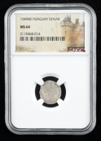 Ferdinand II (1526-1564) Hungary Denar Medieval Silver Coin (NGC MS64) at PristineAuction.com