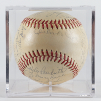 1961 Giants ONL Baseball Team-Signed by (25) with Orlando Cepeda, Willie Mays, Willie McCovey with Display Case (Beckett LOA & Marshall LOA) at PristineAuction.com