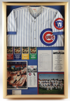 Jim Marshall Dual-Signed Cubs 25x37x3 Shadowbox Display with Jersey & Official Batting Order Lineup Sheet (Marshall LOA) (See Description) at PristineAuction.com
