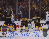 Brad Marchand, Patrice Bergeron, & Tyler Seguin Signed Bruins 8x10 Photo (YSMS COA, Marchand Hologram & Bergeron Hologram) at PristineAuction.com