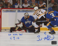 """Brad Marchand Signed Bruins 8x10 Photo Inscribed """"1st NHL Goal 11-3-10"""" (Marchand COA) at PristineAuction.com"""