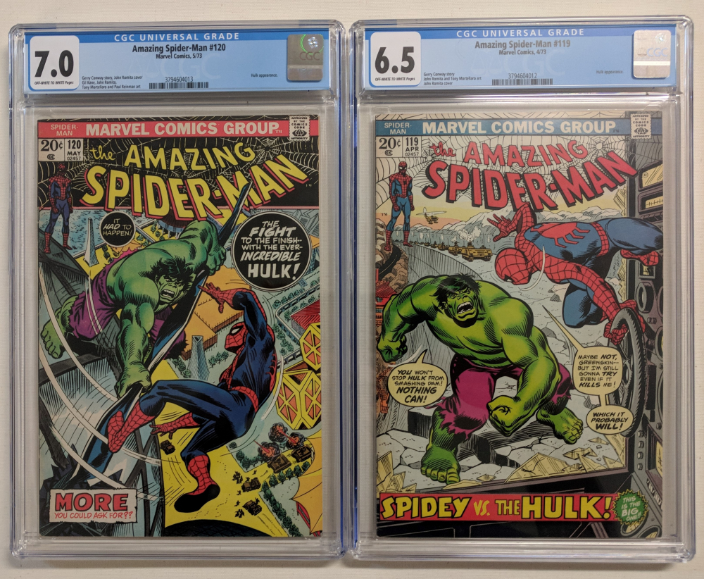 """Set of (2) 1973 """"The Amazing Spider-Man"""" Marvel Comic Books with #119 (CGC 6.5) & #120 (CGC 7.0) at PristineAuction.com"""