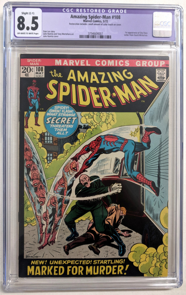 """1972 """"The Amazing Spider-Man"""" Issue #108 Marvel Comic Book (CGC Restored 8.5) at PristineAuction.com"""
