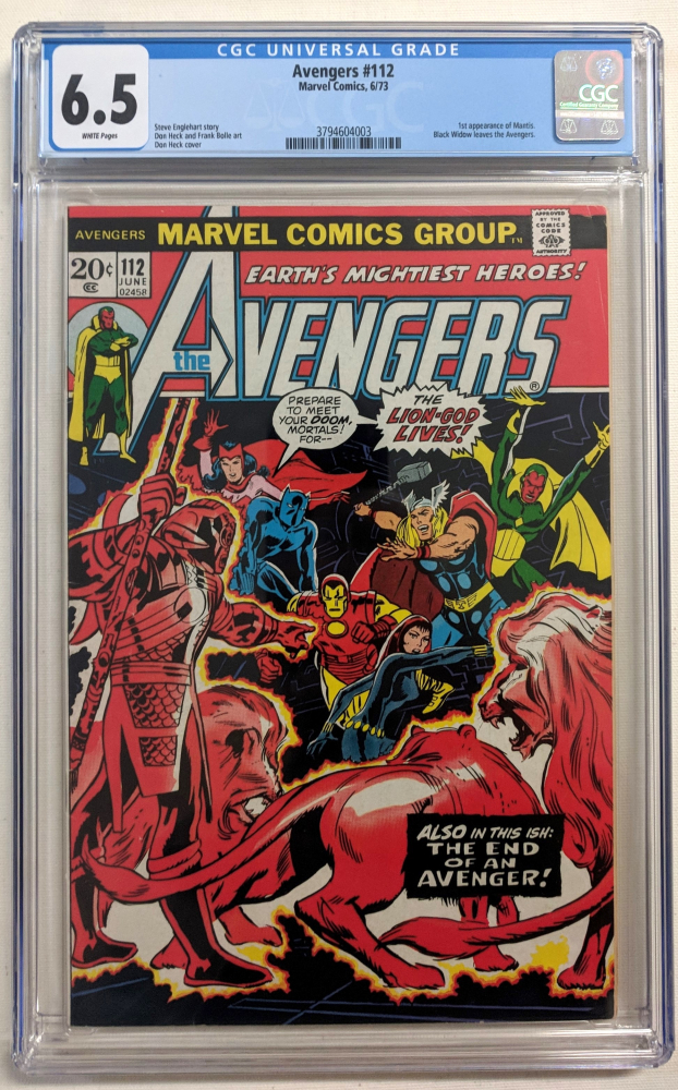 """1973 """"Avengers"""" Issue #112 Marvel Comic Book (CGC 6.5) at PristineAuction.com"""