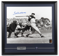 Ted Williams Signed Red Sox 22x23 Custom Framed Photo Display with 1960's Red Sox Pin (Ted Williams COA) at PristineAuction.com