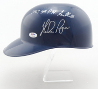 """Nolan Ryan Signed Astros Full-Size Batting Helmet Inscribed """"100.7 M.P.H. Fastball"""" with Rawlings Display Stand (PSA COA) at PristineAuction.com"""