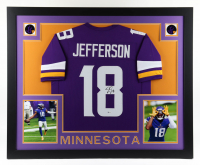 Justin Jefferson Signed 35x43 Custom Framed Jersey Display (Beckett COA) at PristineAuction.com