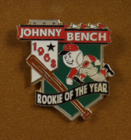 Johnny Bench Signed 32x36 Custom Framed Cut Display with Jersey & 1968 Rookie of the Year Pin (PSA COA) at PristineAuction.com