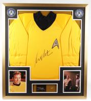 "William Shatner Signed ""Star Trek"" 32x36 Custom Framed Uniform Shirt Display with 23kt Gold Card & Vintage Starship Enterprise Metal Pin (JSA COA) at PristineAuction.com"