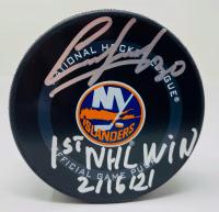 "Ilya Sorokin Signed Islanders Logo Hockey Puck Inscribed ""1st NHL Win 2/16/21"" (Fanatics Hologram) at PristineAuction.com"