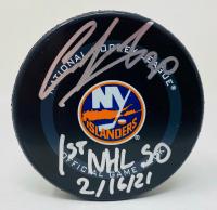 "Ilya Sorokin Signed Islanders Logo Hockey Puck Inscribed ""1st NHL SO 2/16/21"" (Fanatics Hologram) at PristineAuction.com"