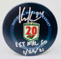 "Kaapo Kahkonen Signed Wild Logo Hockey Puck Inscribed ""1st NHL SO 1/22/21"" (Fanatics Hologram) at PristineAuction.com"