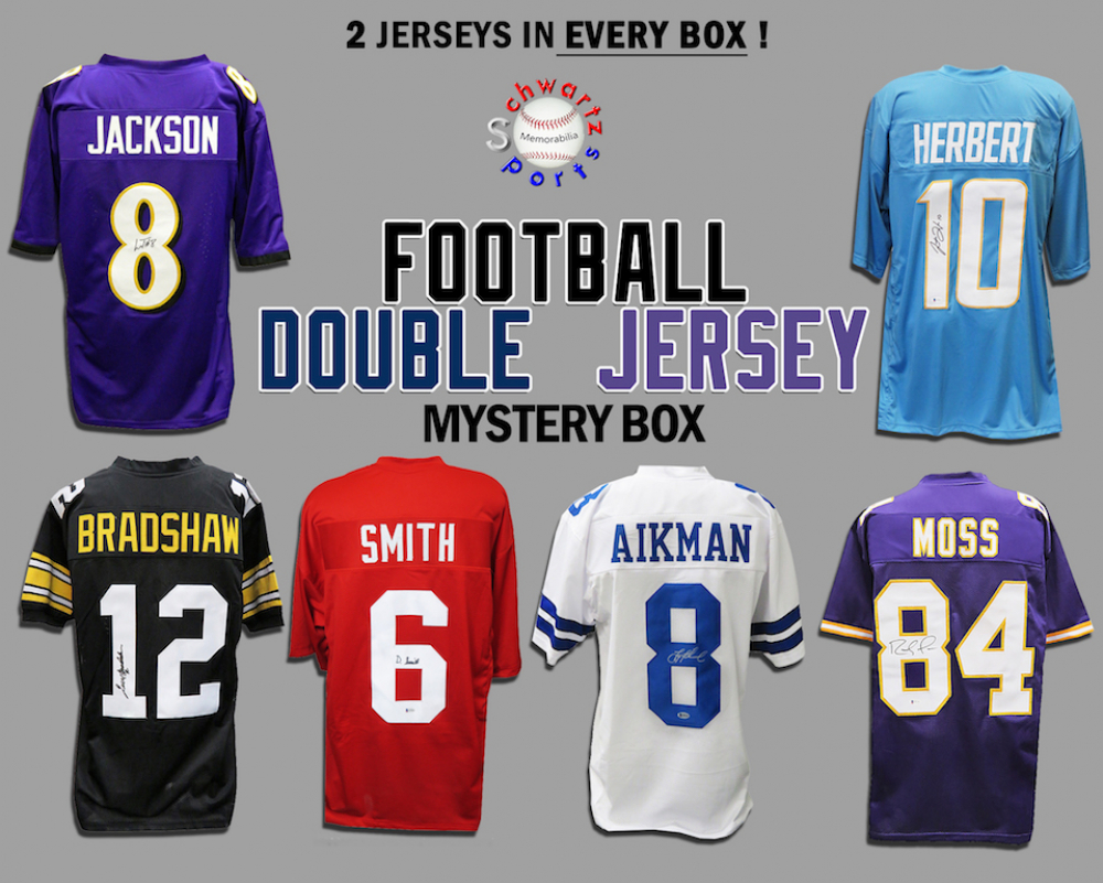 Schwartz Sports DOUBLE Football Jersey Signed Mystery Box - Series 5 - (Limited to 125) (2 Autographed Football Jerseys In Every Box!!) at PristineAuction.com