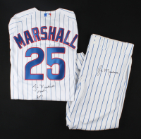"""Jim Marshall Signed 1st Pitch Cubs Worn Uniform with Jersey & Pants with 2016 World Series Champions Patch Inscribed """"1st Pitch 2017"""" (Marshall LOA) at PristineAuction.com"""