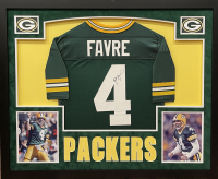 Brett Favre Signed Packers 35.5x43.5 Custom Framed Jersey Display with LED Lights (JSA LOA) at PristineAuction.com