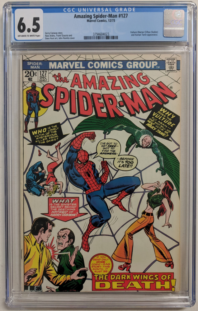 """1973 """"The Amazing Spider-Man"""" Issue #127 Marvel Comic Book (CGC 6.5) at PristineAuction.com"""