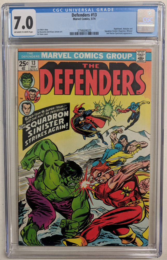 """1974 """"The Defenders"""" Issue #13 Marvel Comic Book (CGC 7.0) at PristineAuction.com"""