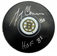 """Gerry Cheevers Signed Bruins Logo Hockey Puck Inscribed """"HOF 85"""" (JSA COA) at PristineAuction.com"""