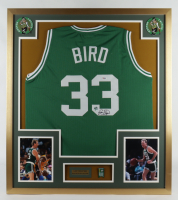 Larry Bird Signed 32x36 Custom Framed Jersey Display with Celtics NBA Champions Pin (PSA COA) (See Description) at PristineAuction.com