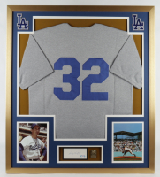 Sandy Koufax Signed Dodgers 32x36 Custom Framed Cut Display with Jersey & Bronze Hall of Fame Plaque (PSA LOA) (See Description) at PristineAuction.com