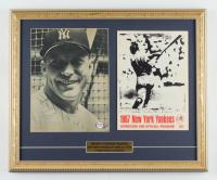 Mickey Mantle Signed Vintage Yankees 16x20 Custom Framed Vintage Photo Display with (1) Original 1967 Official Scorecard & Program (PSA LOA) at PristineAuction.com