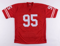 """Tommie Frazier, Jason Peter, & Grant Wistrom Signed Game Stat Highlight Jersey Inscribed """"95 Nat'l Champs!"""" (PSA COA) at PristineAuction.com"""