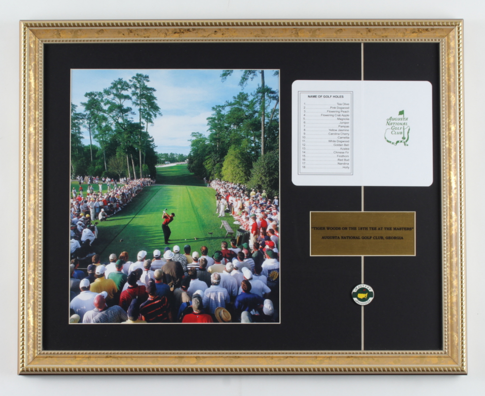 2005 Masters Champion 16x20 Custom Framed Photo Display with (1) Augusta National Golf Club Scorecard & (1) Lapel Pin at PristineAuction.com