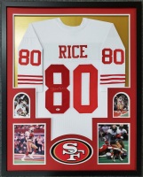 Jerry Rice Signed 34x42 Custom Framed Jersey (Beckett COA) at PristineAuction.com