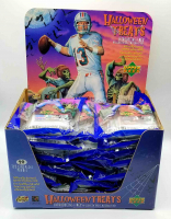 Case of (24) 1996 Upper Deck Football Halloween Card Bags with Store Display at PristineAuction.com