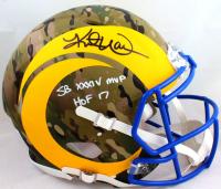 "Kurt Warner Signed Rams Full-Size Authentic On-Field Camo Alternate Speed Helmet Inscribed SB XXXV MVP"" (Beckett Hologram) at PristineAuction.com"